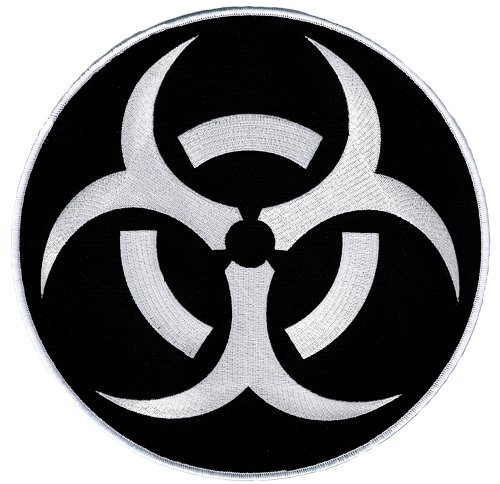 Biohazard Symbol Large Embroidered Patch Iron-On Danger Symbol White-on-Black Logo -