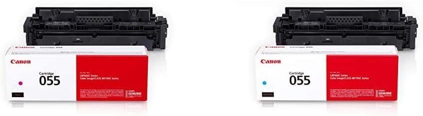 Canon Genuine Toner, Cartridge 055 Magenta (3014C001) 1 Pack, Standard & Canon Genuine Toner, Cartridge 055 Cyan (3015C001) 1 Pack
