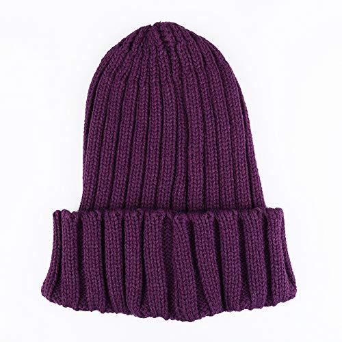WGFGQX Unisexo Otoño E Invierno Sombrero Tejido, Color Caramelo Fluorescente Sombrero Cálido,Lightpurple deeppurple
