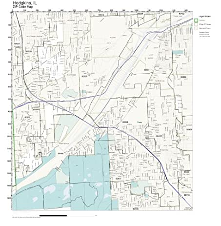 Zip Code Wall Map Of Hodgkins Il Zip Code Map Laminated