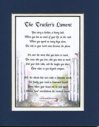 A Gift For A Trucker, #181, Touching 8x10 Poem, Double-matted in Navy Over White and Enhanced with Watercolor Graphics. A Gift For A Trucker.