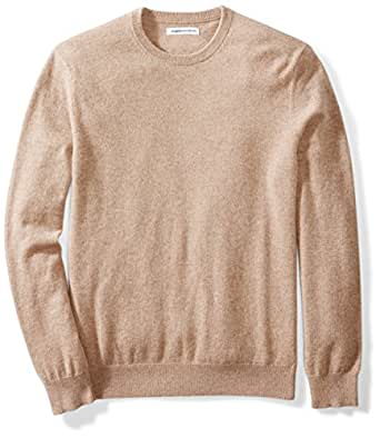 Amazon Essentials Men's 100% Cashmere Crewneck Sweater, Light Brown Heather, Small