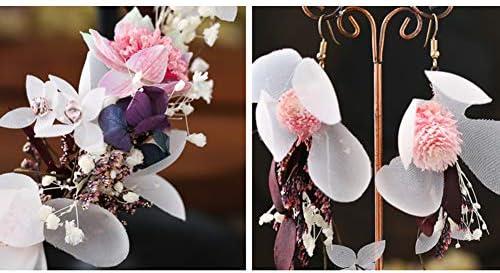 Winslet M/ädchen Blume Stirnband Kranz bl/ühende Echtholz Gras Kiefer Ball Imitation lila Blume Lilie handgemachte gewebte Ohrringe Kranz Set Party Hochzeit Braut Kopfschmuck