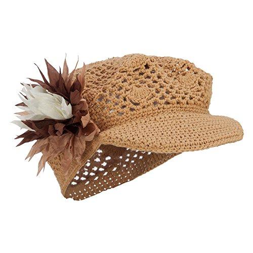 e4Hats.com Flower Crocheted Newsboy Hat - Camel OSFM ()