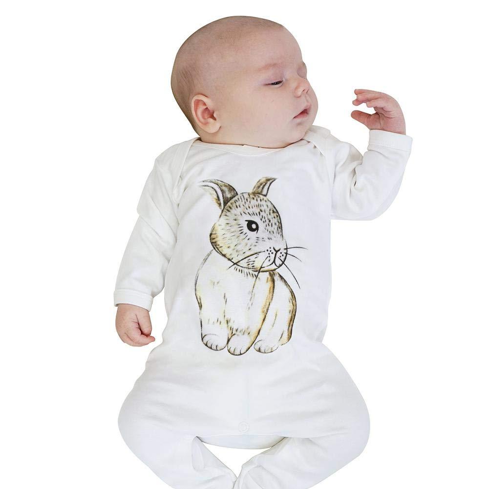 Chinatera Baby Bunny Rompers Pajamas Infant Long Sleeve Rabbit Print Hooded Jumpsuit Sleepwear