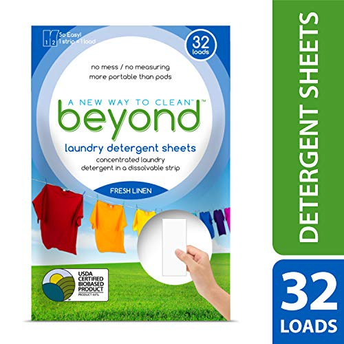 Beyond Concentrated Laundry Detergent Sheets (Laundry Detergent Strips) Fresh Linen Scent (Pack of 32)