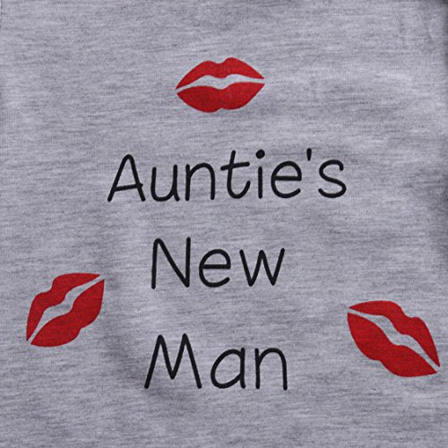 Baby Boys Lip Print Romper Jumpersuit With Saying ''Auntie's New Man''