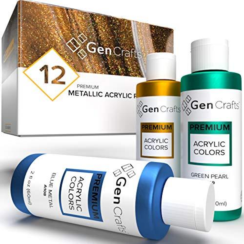 GenCrafts Metallic Acrylic Pouring Paint Set – Set of 12 Metallic Colors – Pre-Mixed High Flow & Ready to Pour – 2 oz…