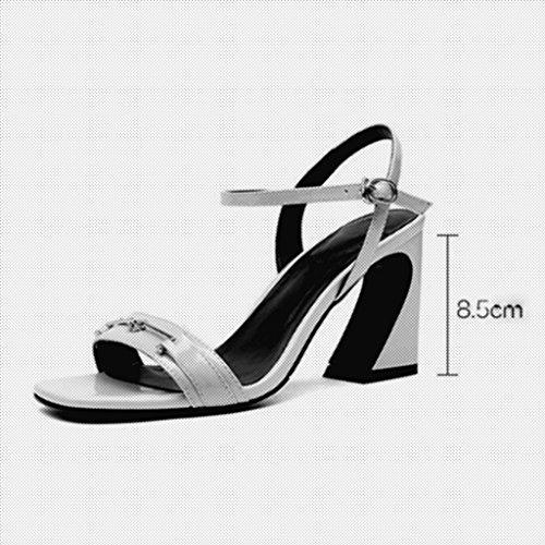 MUMA Schwarz EU38 Farbe hohen Pumps Rough Open mit UK5 Toe Schwarz Weiß Schuhe größe Heelsandelholze Absätzen Female CN38 5 Square qrqawAP