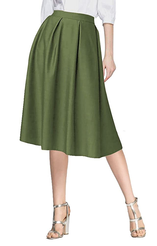 f467366615 Urban CoCo Women's Flared A line Pocket Skirt High Waist Pleated Midi Skirt  at Amazon Women's Clothing store:
