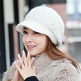 A woman's Hat Lady winter Knitting Hat Beret duck tongue rabbit hair hat winter warm earmuffs,M (56-58cm),Twin arrows - white