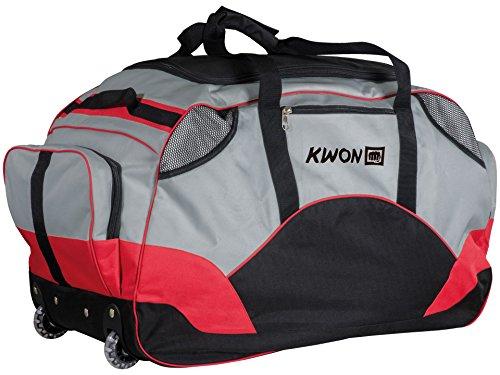 KWON® White Line Premium ROLLENTASCHE, Sporttasche, 5015055, Rolli, Rolltache, Trolly,Tasche, mit Rollen, Räder, grau, schwarz, 70 x 35 x 42 cm, 5015075