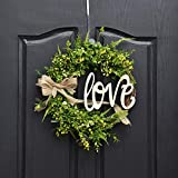 QUNWREATH Handmade 14 inch Grass Series Wreath,Green Leaf,Hello Letter,Fall Wreath,Wreath for Front Door,Rustic Wreath,Farmhouse Wreath,Grapevine Wreath,Light up Wreath,Everyday Wreath,QUNW27