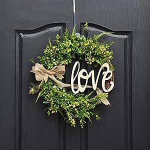 QUNWREATH Handmade 14 inch Grass Series Wreath,Green Leaf,Hello Letter,Fall Wreath,Wreath for Front Door,Rustic Wreath,Farmhouse Wreath,Grapevine Wreath,Light up Wreath,Everyday Wreath,QUNW27 4
