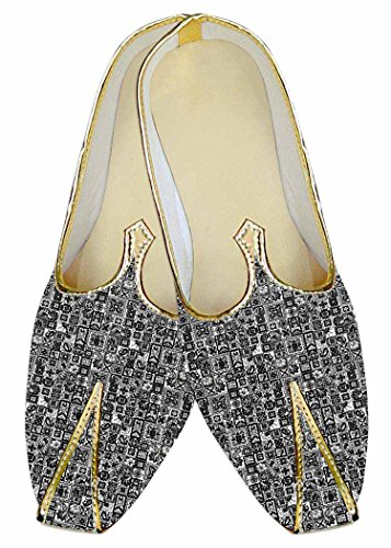 INMONARCH Mens Gray Wedding Shoes Geometric Design MJ015262 S3vPf5u2GI