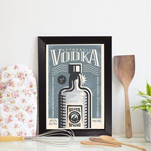 Quadro Decorativo Bebida Vintage Vodka 22x32 Moldura Preta
