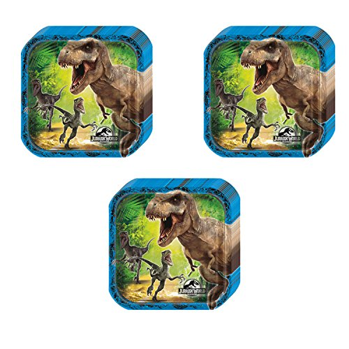 Jurassic World Party Squared Dessert Plates - 24 Pieces by Pinatas