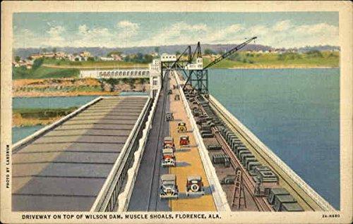 Driveway on top of Wilson Dam, Muscle Shoals Florence, Alabama Original Vintage Postcard