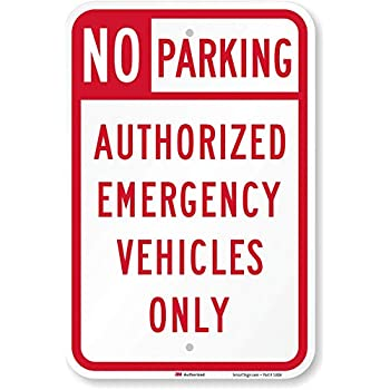 """Emergency Parking Only  Sign 12/"""" x 18/"""" Heavy Gauge Aluminum Signs"""