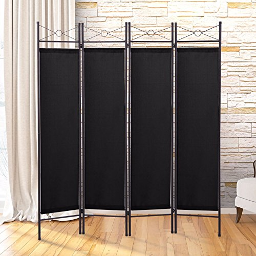 - Black 4 Panel Room Divider Privacy Folding Screen Home Office Fabric Metal Frame