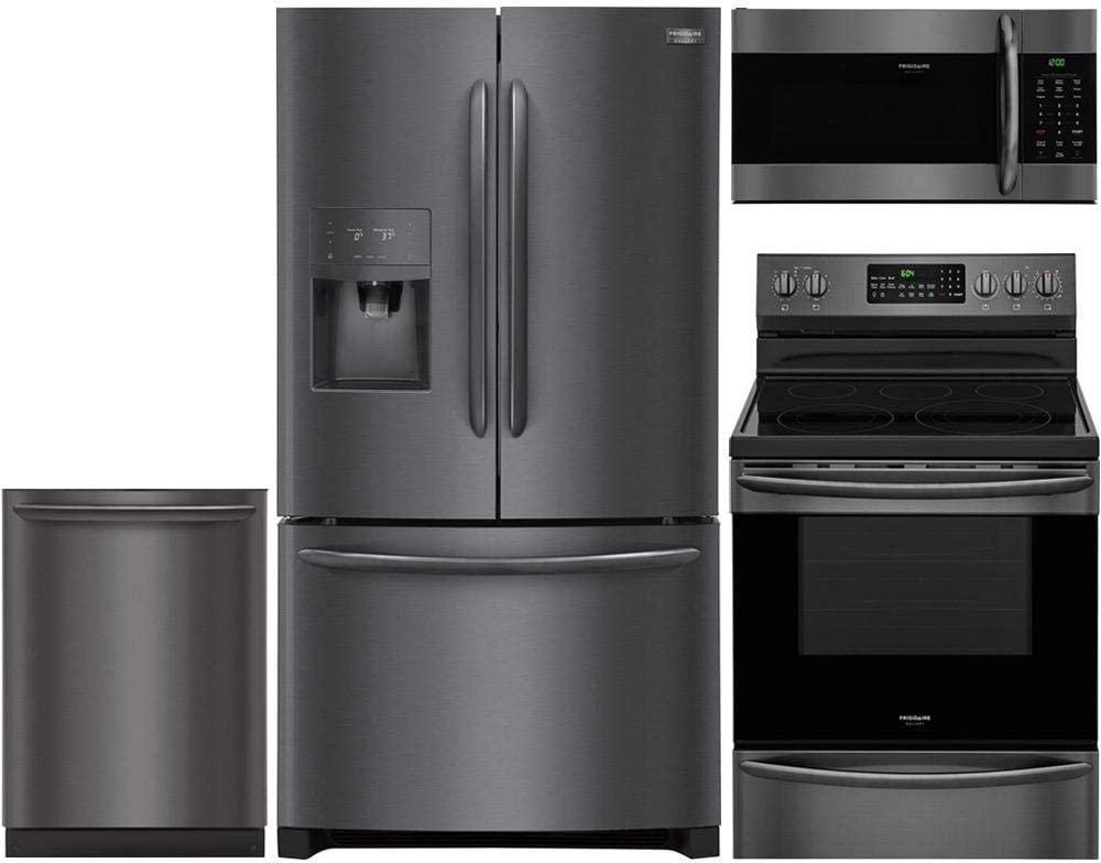 """Frigidaire 4-Piece Kitchen Appliance Package with FGHD2368TD 36"""" French Door Refrigerator FGEF3059TD 30"""" Freestanding Electric Range FGID2466QD 24"""" Fully Integrated Dishwasher and FGMV176NTD 30"""" Over-the-Range Microwave in Black Stainless Steel"""