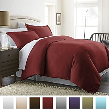 Beckham Hotel Collection® Luxury Soft Brushed 1800 Series Microfiber 3 Piece Duvet Cover Set - Full/Queen, Burgundy