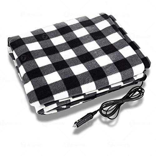 Zone Tech Car Heated Travel Blanket – Black and White Premium Quality 12V Automotive Comfortable Heating Car Seat Blanket Great for Winter