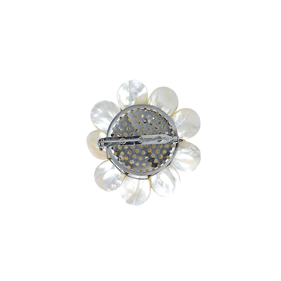 AeraVida Pure Lotus White Mother of Pearl & Cultured Freshwater White Pearl Floral Pin or Brooch
