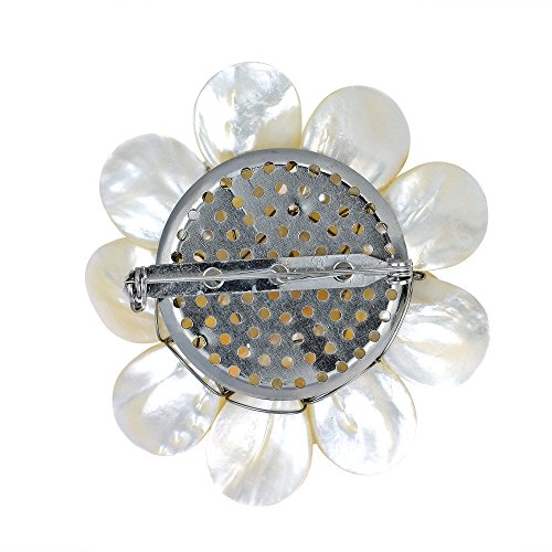 White Pure Lotus Mother of Pearl Cultured Freshwater Pearls Floral Pin or Brooch