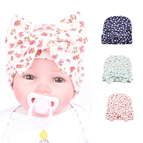 Ademoo Newborn Girl Nursery Beanie Hospital Hat With Rhinestone Bow (Floral 3 Colors) ()