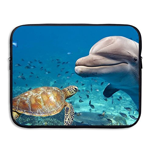 Lib Dolphin With A Sea Turtle Anti-shock Notebook Zipper Bag 13-15 Inch