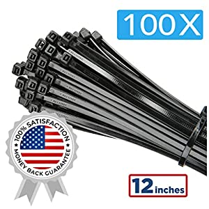 "100 Pack of Black Cable Ties – 12"" x 0.19"" – Premium Nylon Zip Ties – Heavy Duty UV and Heat Resistant Tie Wraps"
