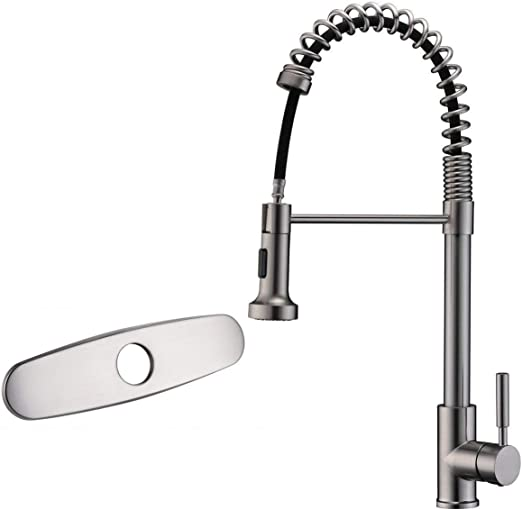 ASPA Brushed Nickel Kitchen Faucet Pull Down Pull Out Sprayer Spring  Lead-Free Stainless Steel Single Handle High Arc Sink Faucets, CUPC  Certified