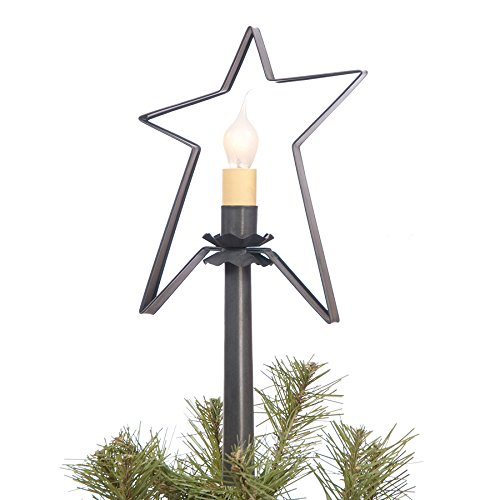 Irvin's Country Tinware Village Star Tree Topper in Blackened Tin