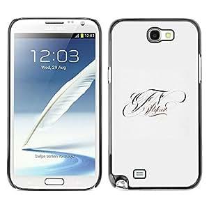 rígido protector delgado Shell Prima Delgada Casa Carcasa Funda Case Bandera Cover Armor para Samsung Note 2 N7100 /Letters Initials F V/ STRONG