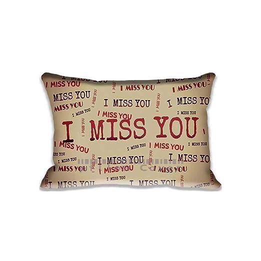 SHCNB Funda de cojín con Texto en inglés I Miss You 20 x 30 ...