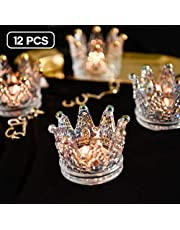 Vixdonos Crown Glass Tealight Candle Holder Votive Candle Holders for Wedding, Party and Home Decor