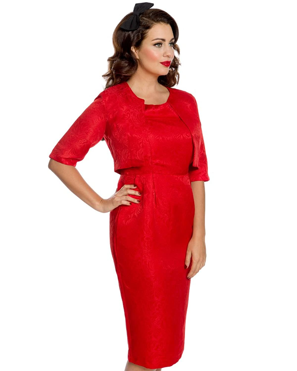 Pin Up Dresses | Pinup Clothing & Fashion Lindy Bop Amanda Cranberry Pencil Dress and Jacket Twin Set $85.00 AT vintagedancer.com
