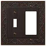 AmerTac 43TRVB 1 Toggle/1 Rocker-GFCI English Garden Wallplate, Aged Bronze