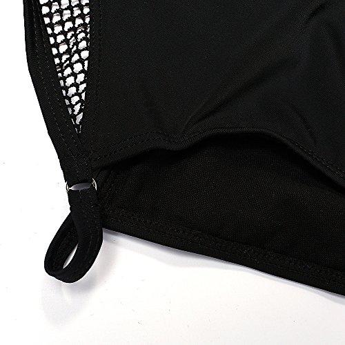 XLHGG Traje de baño de una pieza de las mujeres del traje de baño del negro y del leopardo de la playa del bikiní
