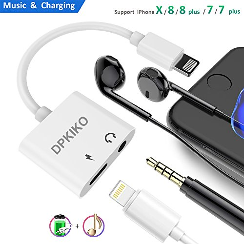 DPKIKO Compatible Adapter Splitter Replacement for Iph X / 8/8 Plus / 7/7 Plus, 3.5 mm Headphone Jack Charger, 2 in 1 Audio AUX Music Control Charge Connector