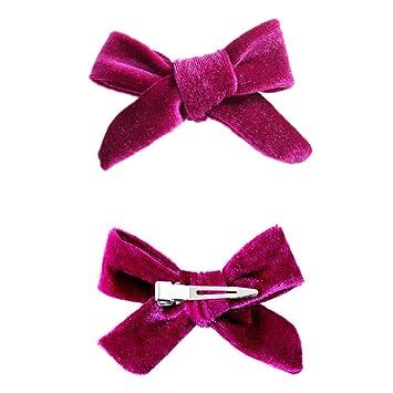 Sunflower-QD 2 Velvet Ribbon Pinwheel Bows Clip for Girl Set of 18