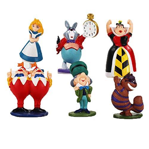 Zizu store 6pcs/lot Alice In Wonderland Figure Alice Queen Of Heart White Rabbit Cheshire Cat Mad Hatter Tweedle Dee Tweedle Dum Model -
