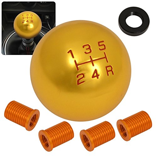 Manual Transmission Gear (Rxmotor Universal 5 Speed Manual Transmission Round Shift Knob Shifter Threaded Gear Stick Shift Head,Gear Shift knob M8X1.25 M10x1.5 M12x1.25 (GOLD 24K))