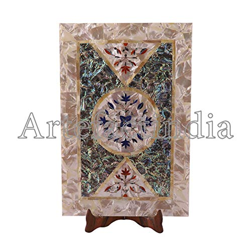 Artefactindia Serving Tray for Breakfast and Drink Beautiful Mosaic Art Inlaid Mother of Pearl, Paua Shell 12