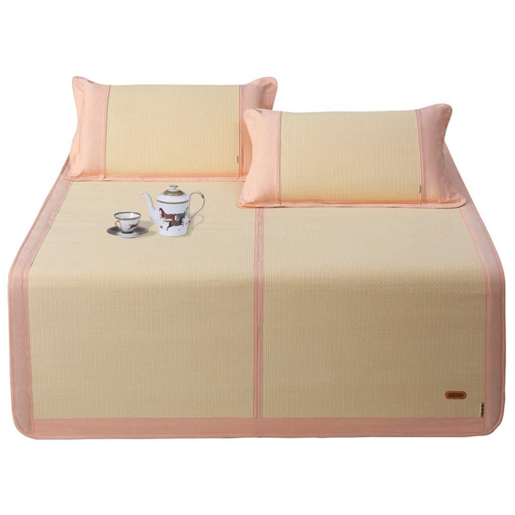 Bambus Schlafmatten Und Stroh Matte 1,8 M Bett Dreiteilig Matte 1,5 M Faltbar Dick Luft Konditionierung Doppelt Matte Cool Ohne EIS Pink (Size : 200 * 150cm)