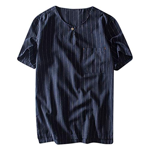 Men Casual Polo-Shirt Linen Shirt Classic Stripe T-Shirt Loose Fit Summer Base Layer Yoga Shirt Beachwear for Men (2XL, Navy)