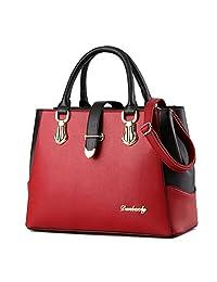 Tibes Women Shoulder Bag Satchel Handbag Purse Red