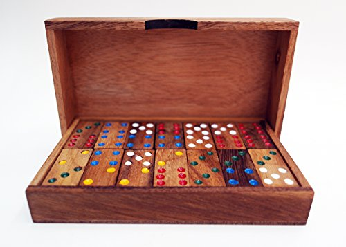 28 pcs Small Size DOUBLE6 Block Dominos Game Set Handmade Dominoes Wooden Set Vintage Top Case Box Traditional Board Travel Tile Game Kid Toy Gifts