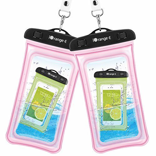 Waterproof Case, 2 Pack iOrange-E Clear Universal Waterproof Phone Case, Transparent Dry Bag, Waterproof Pouch for iPhone 7 6S Plus SE 5S, Galaxy S7 S6 edge, Note 5 4, Nexus 6P 5X, LG G5 G4 G3 - Pink
